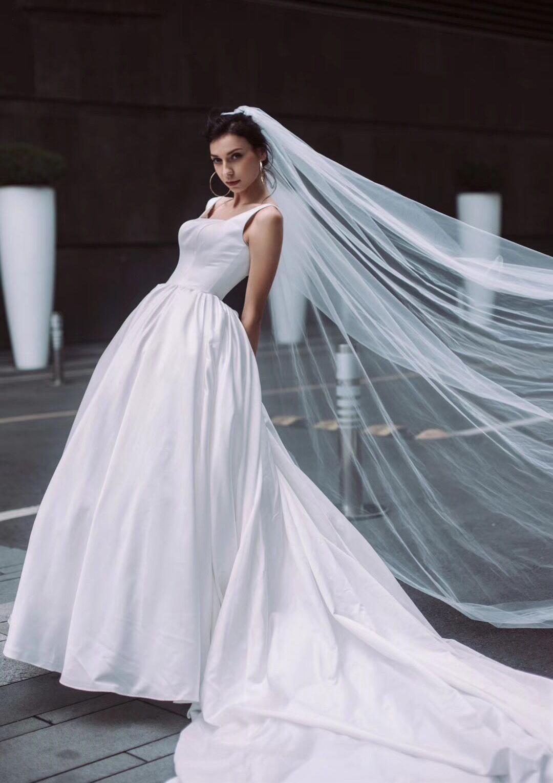 e27e605615fb Satin Wedding Dress Ball Gown Square Neckline Cathedral Train With ...
