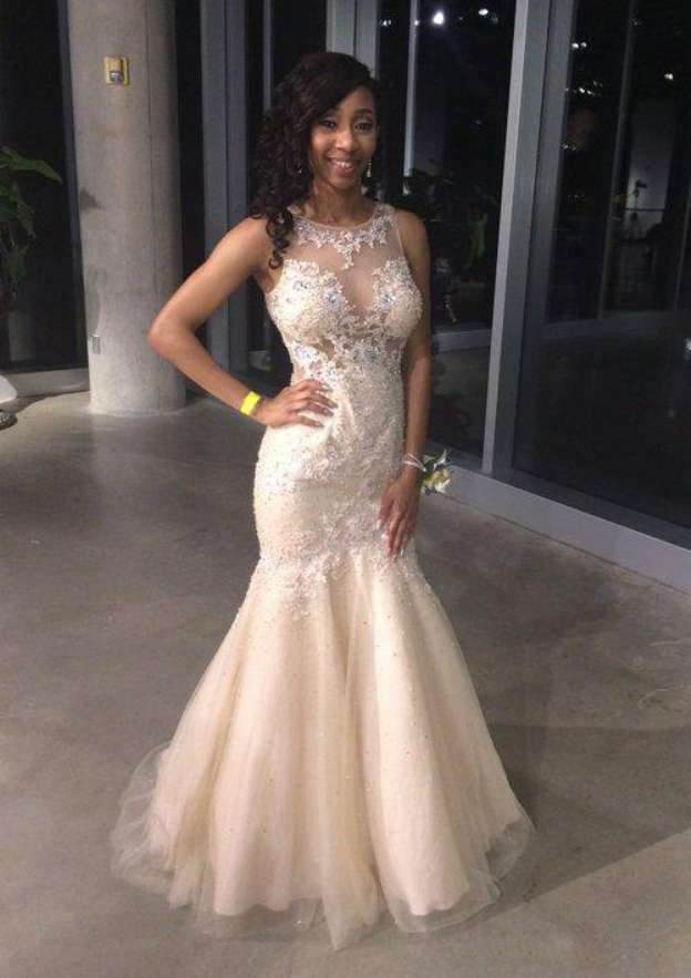 df0a825f6f Trumpet Mermaid Scoop Neck Sleeveless Long Floor-Length Tulle Prom Dress  With Lace