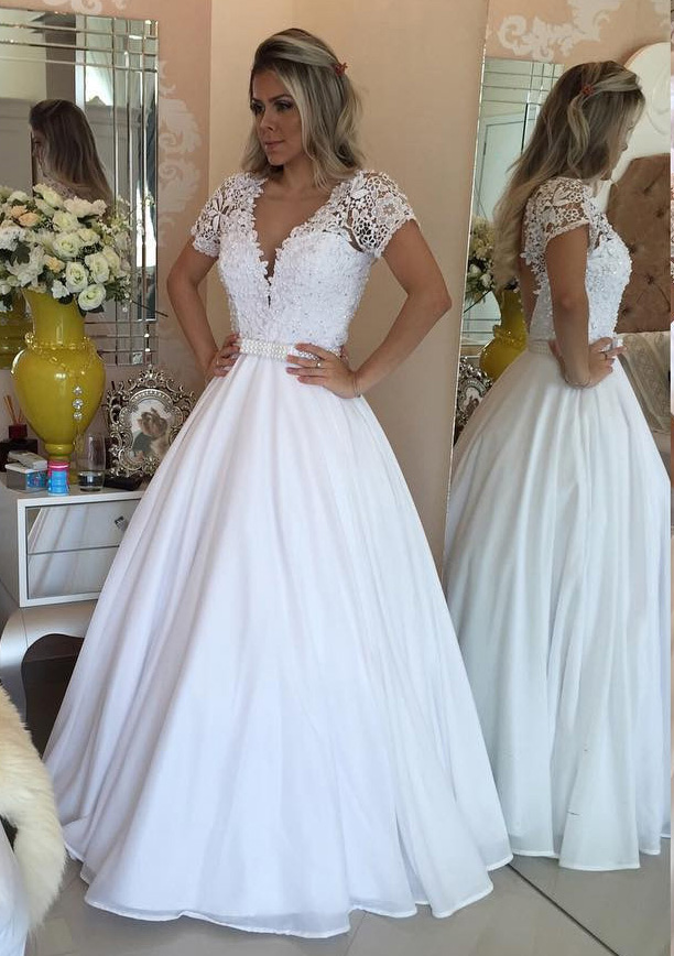 Chiffon Long Floor Length Ball Gown Short Sleeve V Neck Covered Button Wedding Dress With Appliqued