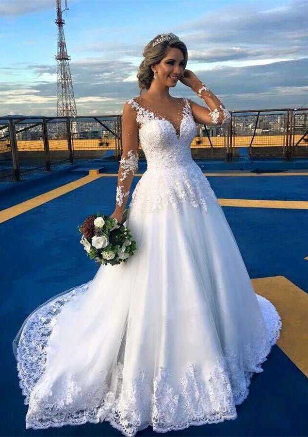 00ea6aefbfc Lace Court Train Ball Gown Full Long Sleeve V-Neck Covered Button ...