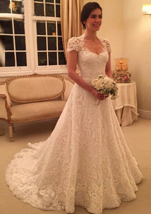 Lace Chapel Train A Line Princess Short Sleeve Sweetheart Covered Button Wedding Dress With Appliqued Beaded,Destination Wedding Flower Girl Dress
