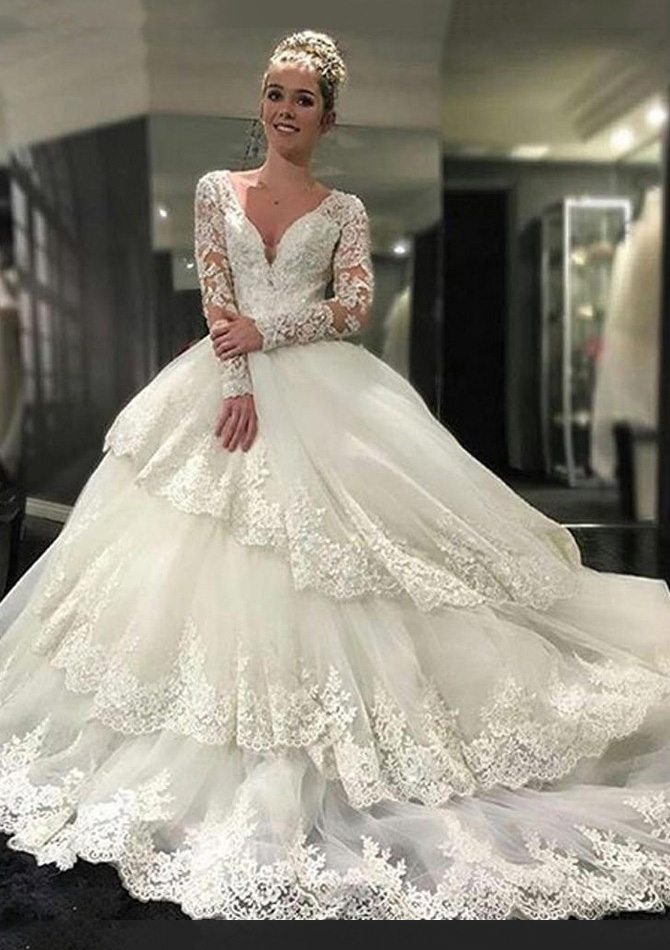 a39031a9e4d Tulle Cathedral Train Ball Gown Full Long Sleeve V-Neck Covered ...