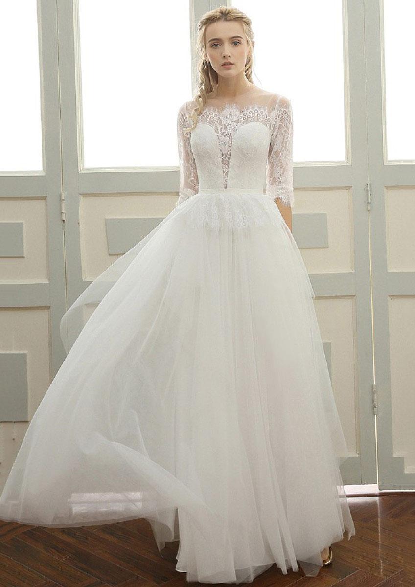 b910bc47c Tulle Wedding Dress A-Line/Princess Bateau Long/Floor-Length With Lace