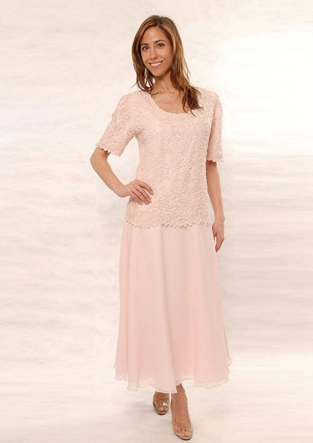 9f489b16e Chiffon Mother Of The Bride Dress A-Line/Princess Scoop Neck Ankle-Length  With Lace