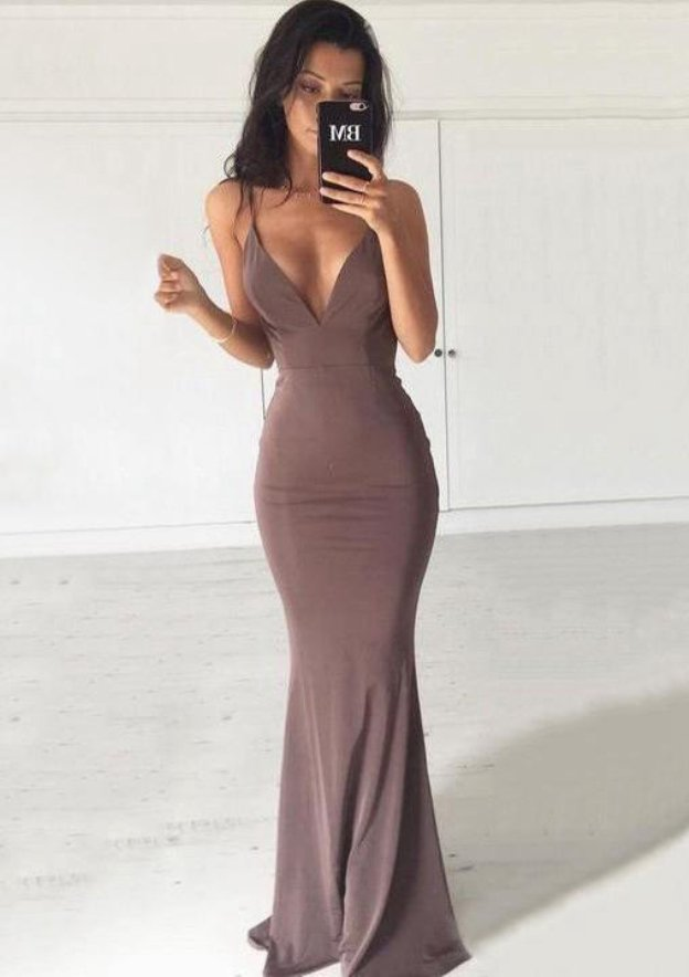 Jersey Prom Dress Sheath Column V-Neck Sweep Train With Pleated 1d9f827d2