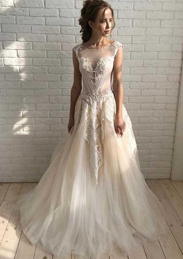 A Line Princess Bateau Sleeveless Court Train Tulle Prom