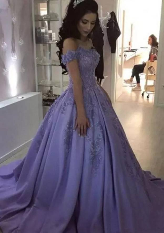 a98eebc9e0cbb4 Ball Gown Off-the-Shoulder Sleeveless Sweep Train Satin Prom Dress With  Appliqued Beading