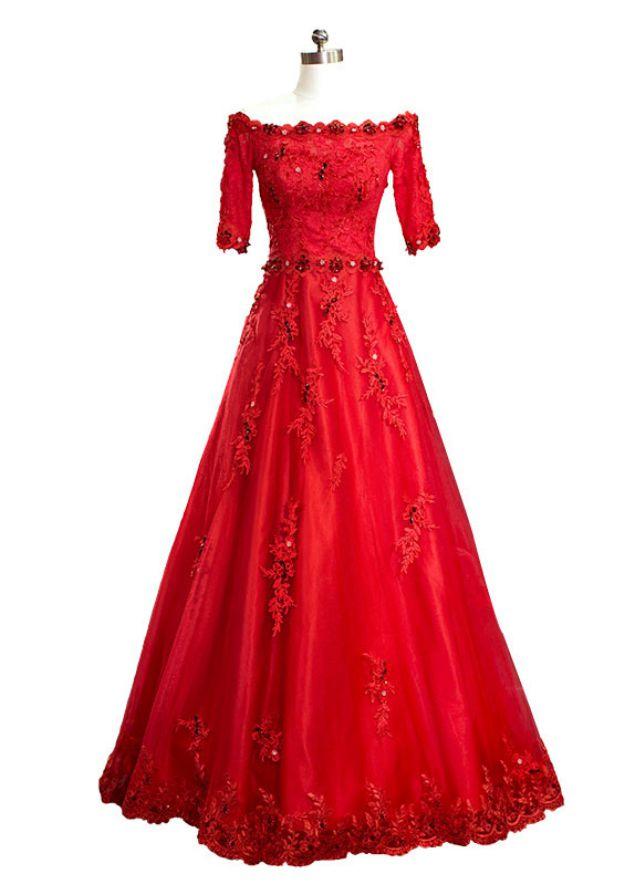 faeea4d4e1ec Lace Long Floor-Length A-Line Princess Half Sleeve Off-The-Shoulder Zipper  Prom Dress With Appliqued