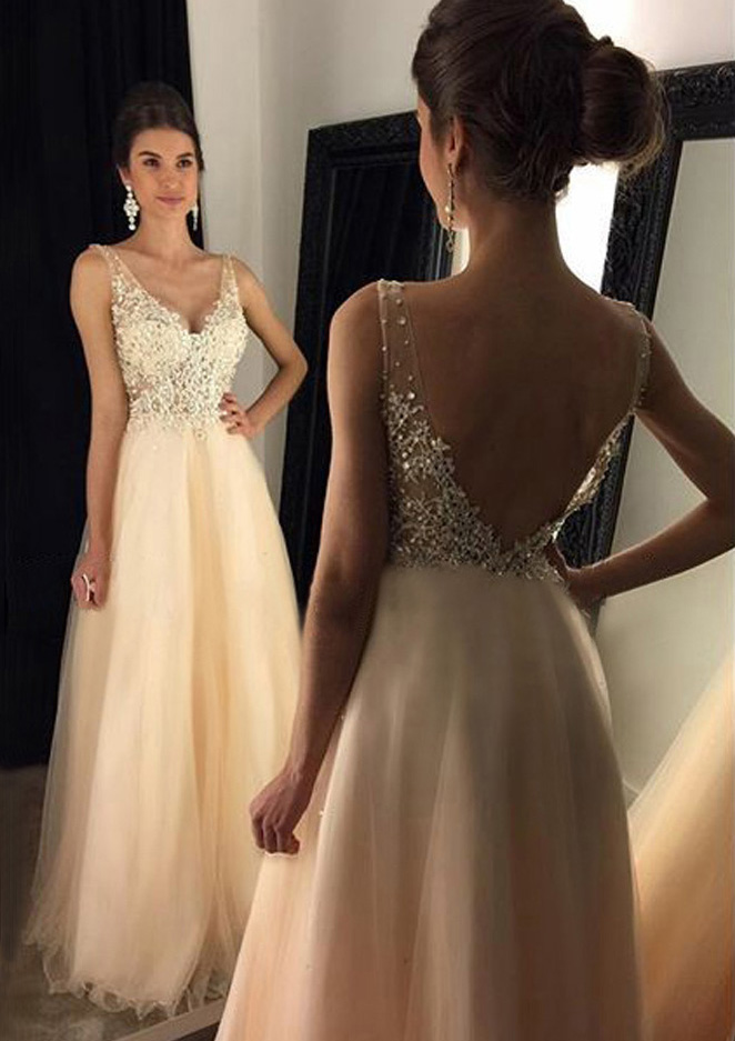 a5cc1026f05 Tulle Prom Dress A-Line Princess V-Neck Long Floor-Length With Appliqued