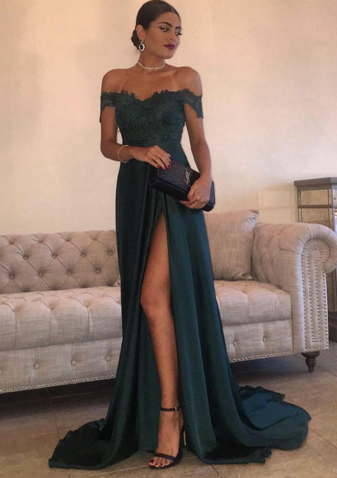 9349230755dc55 Elastic Satin Prom Dress A-Line/Princess Off-The-Shoulder Sweep ...