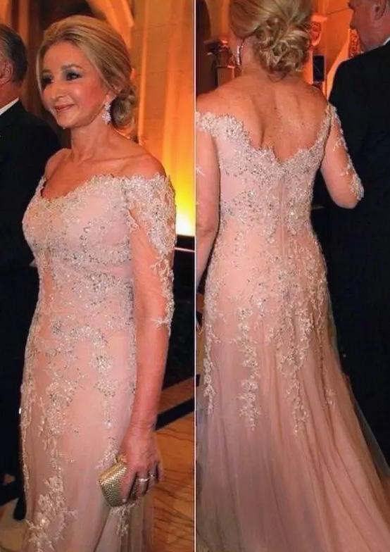 7ef403649e5e Tulle Mother Of The Bride Dress Sheath/Column Off-The-Shoulder Long ...