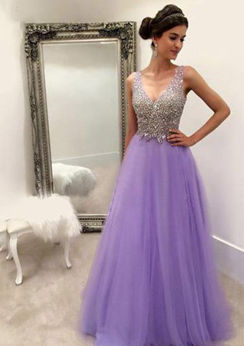 42abb92232b A-line Princess V Neck Sleeveless Long Floor-Length Tulle Prom Dress ...