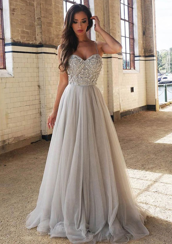 d9404b31d4d Tulle Prom Dress A-Line Princess Sweetheart Sweep Train With Beaded