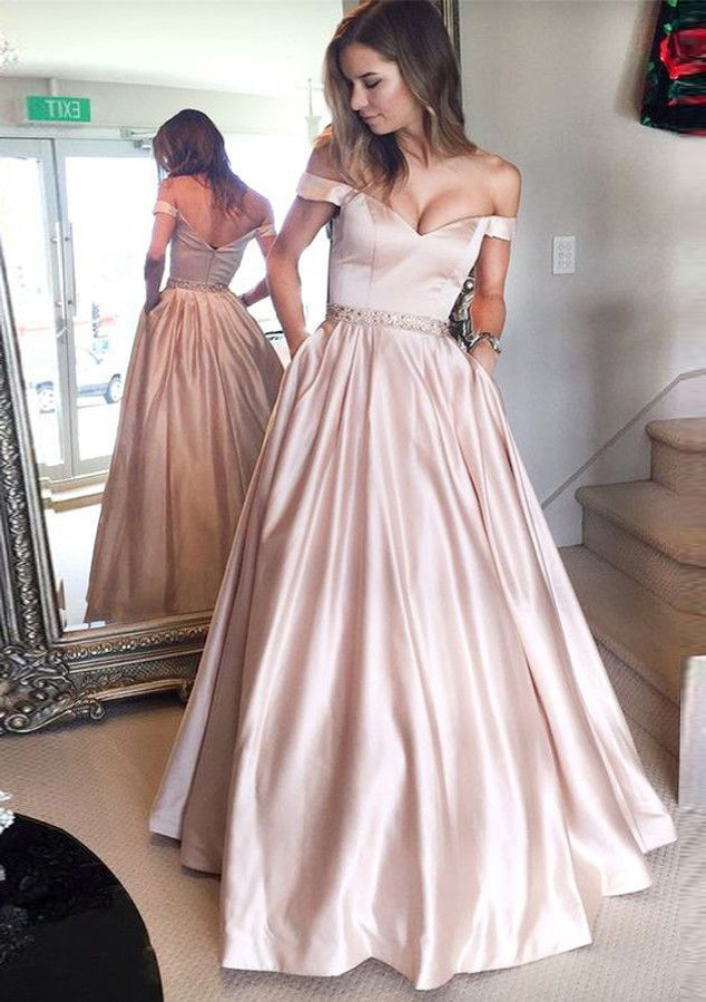 c0df57f518e0 Satin Prom Dress A-Line/Princess Off-The-Shoulder Long/Floor-Length ...