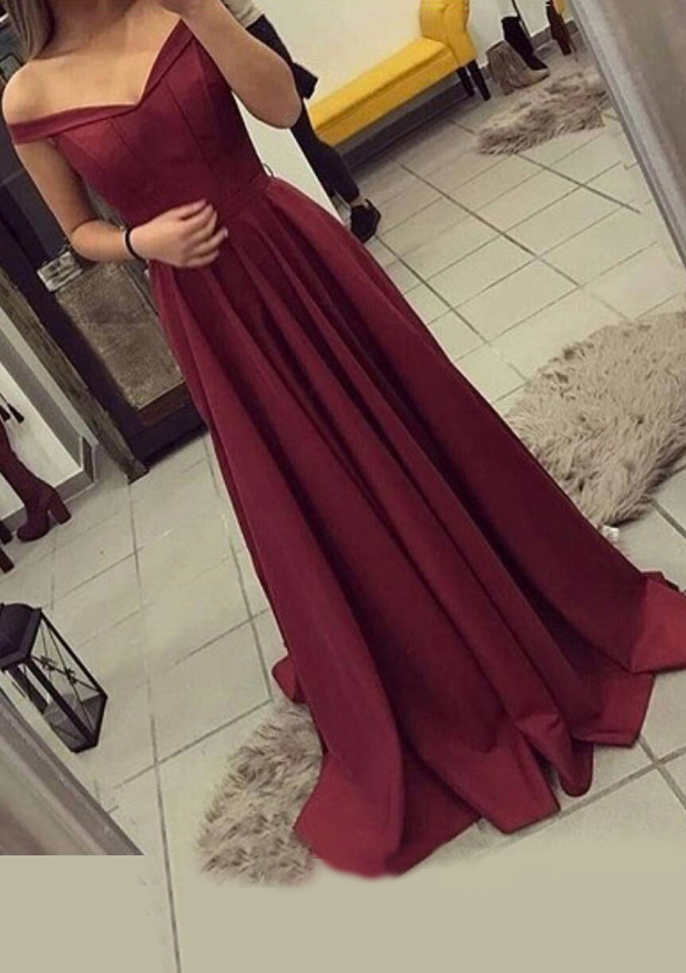 42ab90f753b Elastic Satin Prom Dress A-Line Princess V-Neck Sweep Train