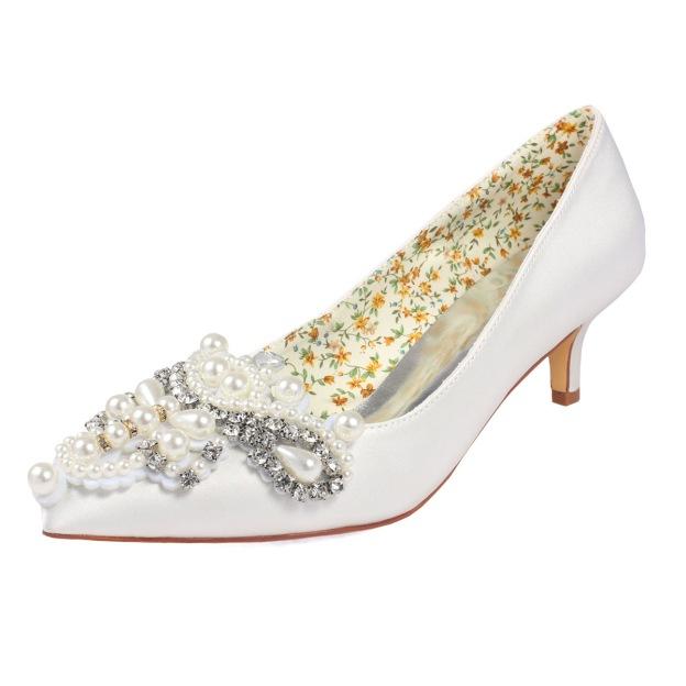 17072ec7ca8 Close Toe Low Heel Satin With Imitation Pearl And Rhinestone Wedding Shoes
