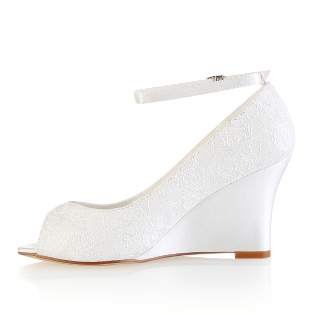 28b7955d1f Peep Toe Sandals Wedge Heel Ivory Lace With Buckle Wedding Shoes