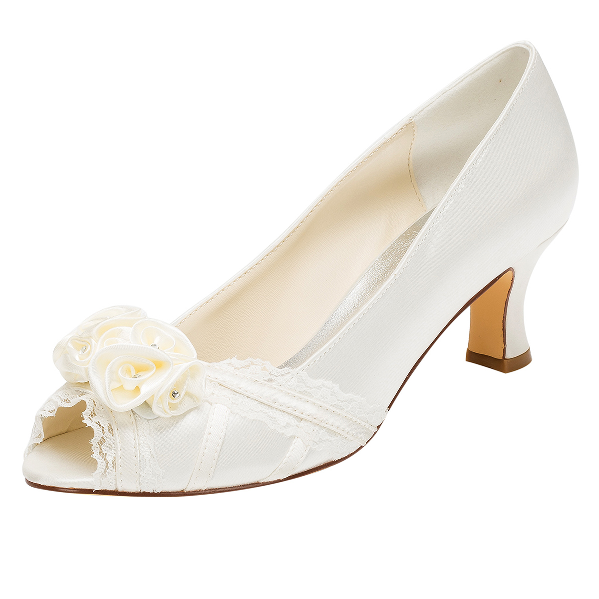 7a53b655f3a7 Peep Toe Sandals Chunky Heel Ivory Satin With Appliqued And Lace ...