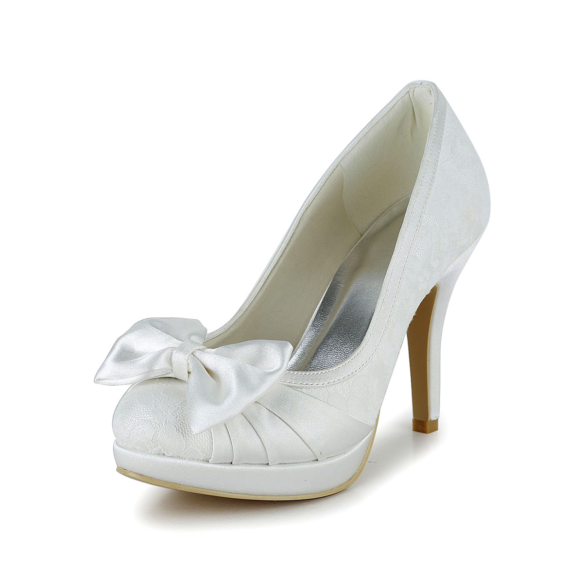 8b5e905f2f8 Close Toe Platform Stiletto Heel White Satin With Lace And Bowknot ...