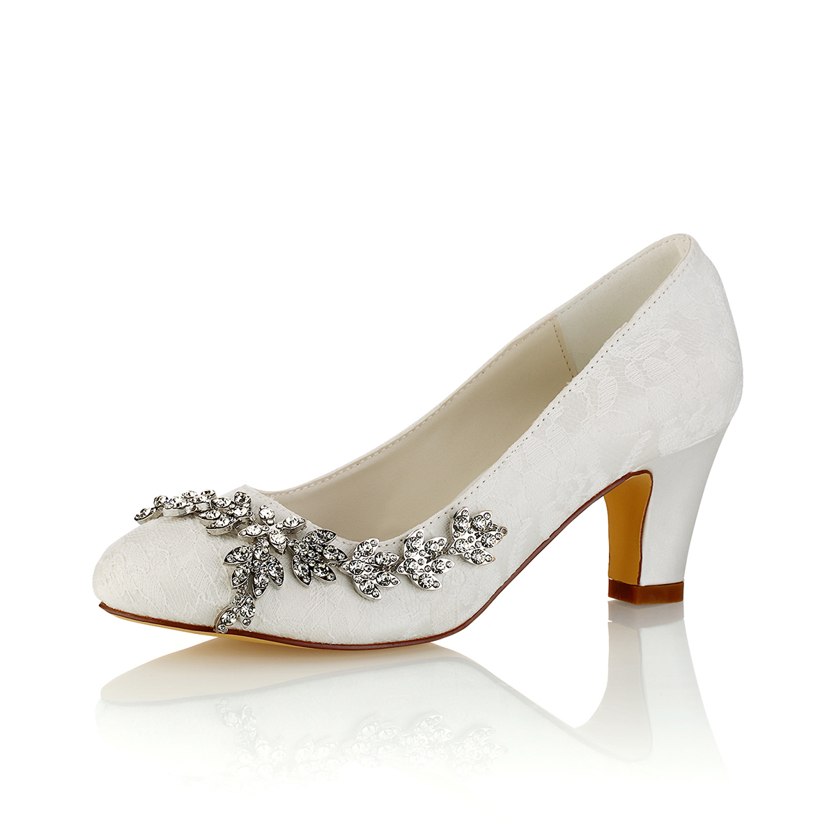 c87172a50531a1 Close Toe Chunky Heel Multi Color Lace With Rhinestone Wedding Shoes