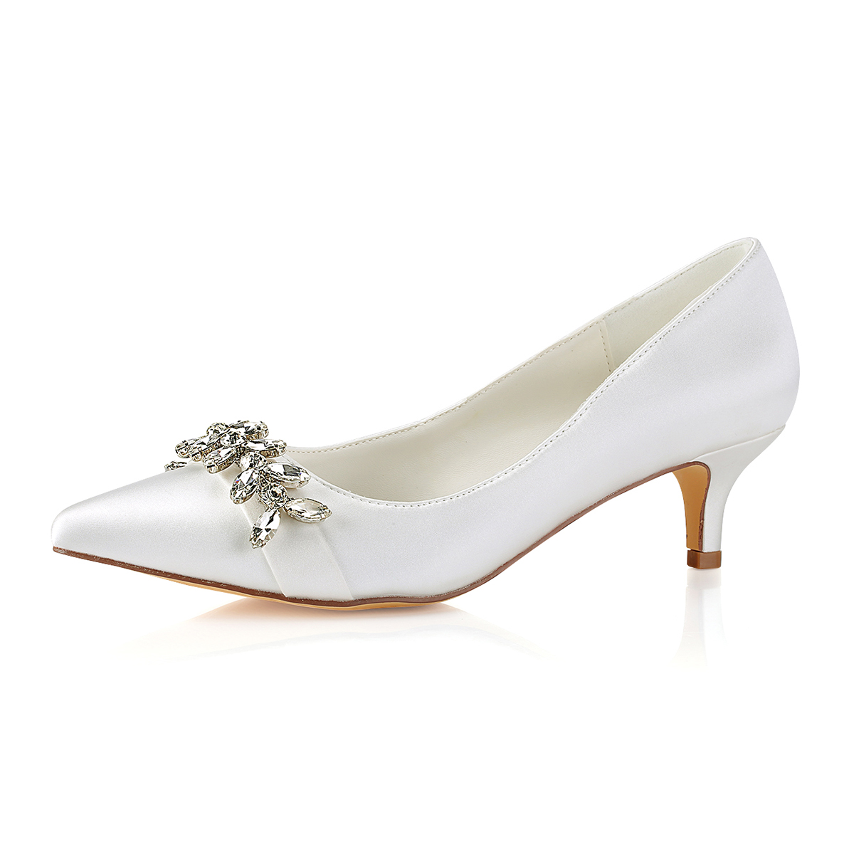 Close Toe Low Heel Ivory Satin With Crystal Wedding Shoes