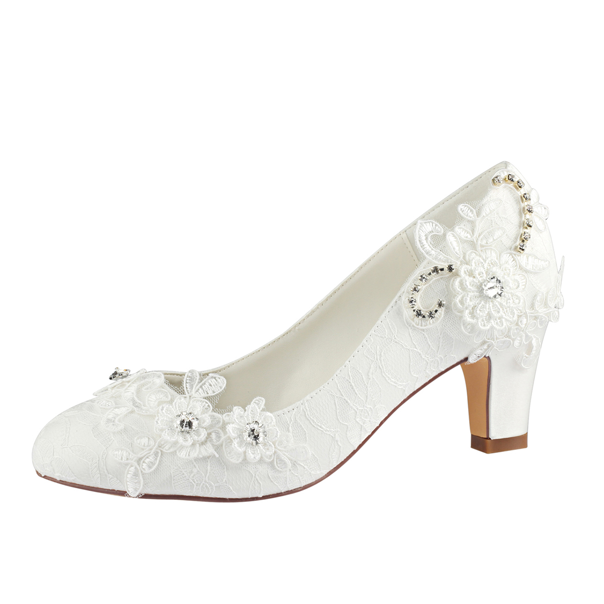 39e27356a574 Close Toe Chunky Heel Ivory Lace With Appliqued And Rhinestone ...