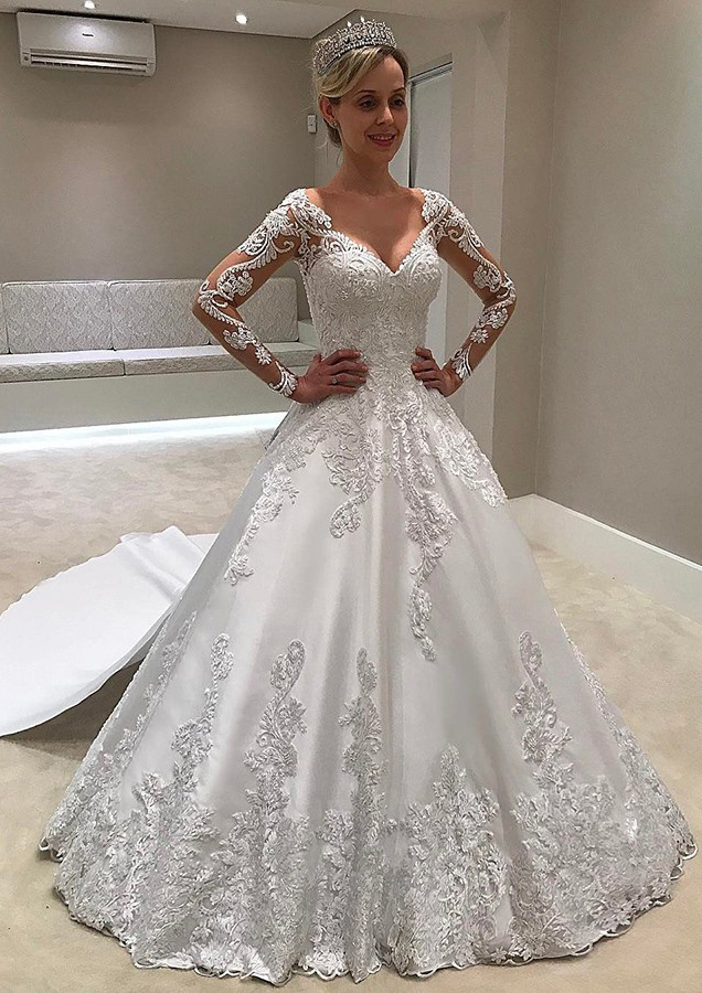 Ball Gown V Neck Full Long Sleeve Chapel Train Satin Wedding Dress With Appliqued Lace