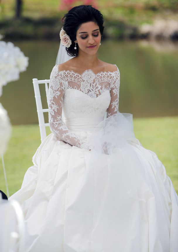 Ball Gown Off The Shoulder Full Long Sleeve Sweep Train Satin Wedding Dress With Lace Pleated