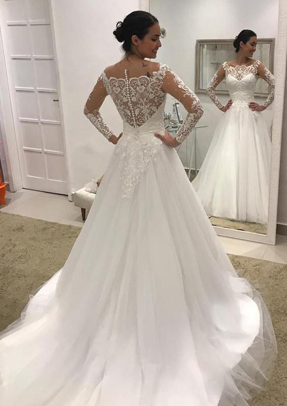A Lineprincess Scalloped Neck Fulllong Sleeve Court Train Tulle Wedding Dress With Lace