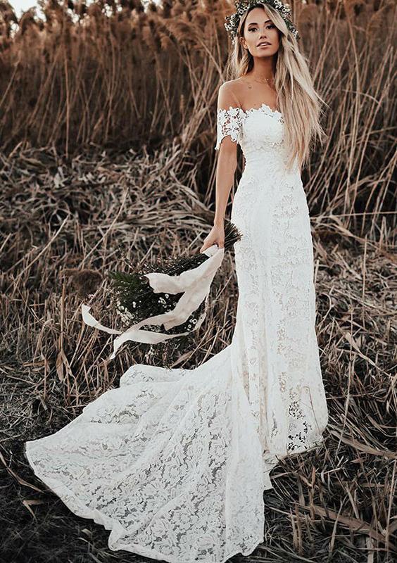 Trumpet Mermaid Scalloped Neck Short Sleeve Court Train Lace Wedding Dress Wedding Dresses S10110325btbw At Stacees Co Uk