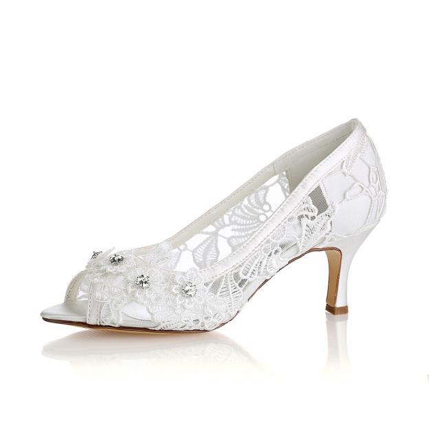 553b239b00799 Peep Toe Sandals Chunky Heel Lace Wedding Shoes With Flowers Rhinestone