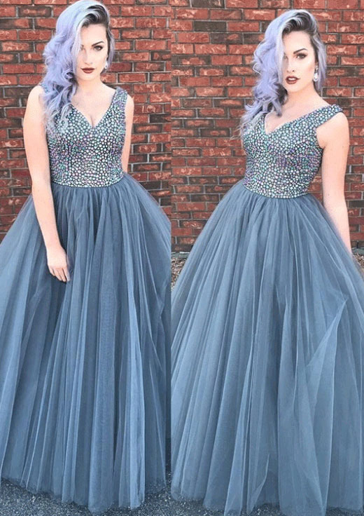 b92dd403899 Ball Gown V Neck Sleeveless Long Floor-Length Tulle Prom Dress With ...