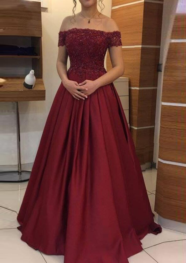43f1bd7c4f1 A-line Princess Off-the-Shoulder Sleeveless Long Floor-Length ...
