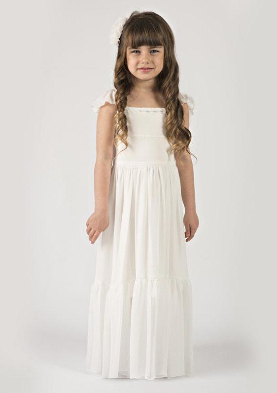 ae7252a56251 Chiffon Flower Girl Dress A-Line Princess Square Neckline Long Floor ...