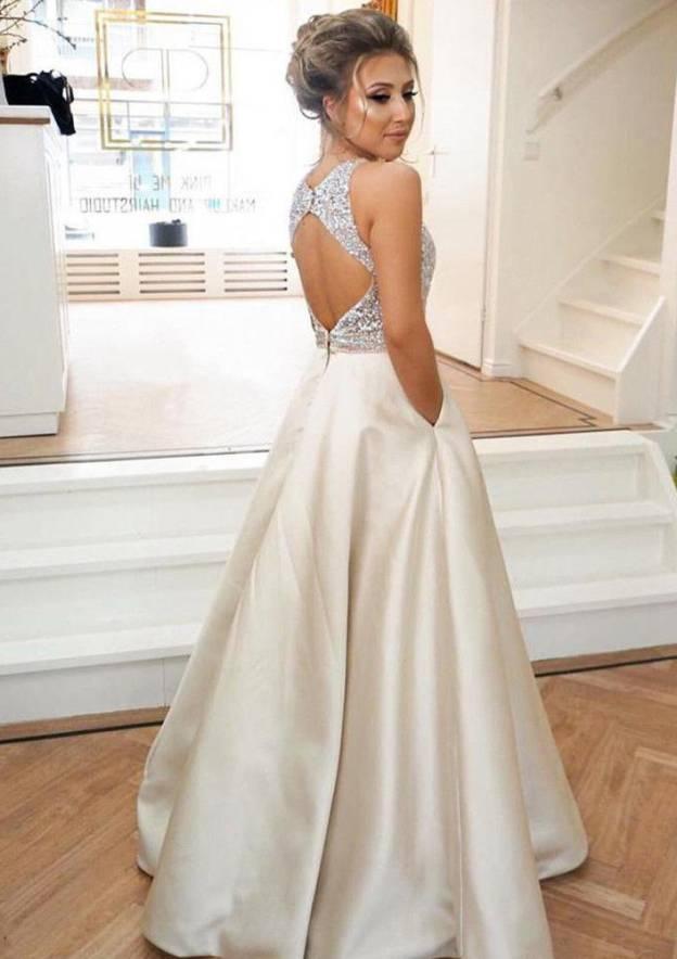 698d5002a6d A-line Princess Scoop Neck Sleeveless Long Floor-Length Satin Evening Dress  With Pockets Beading - Evening Dresses S10235861BTBP - at Stacees.co.uk
