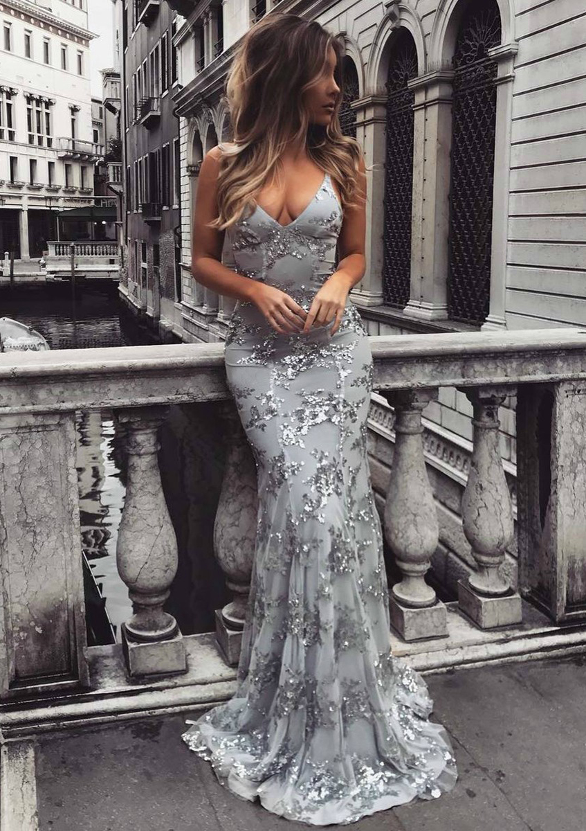 01a474e2cd8 Trumpet Mermaid V Neck Sleeveless Sweep Train Tulle Evening Dress ...