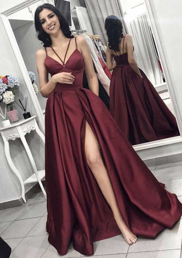 15cecc2b8e6b3b A-line/Princess V Neck Sleeveless Long/Floor-Length Elastic Satin Evening  Dress With Split Pleated