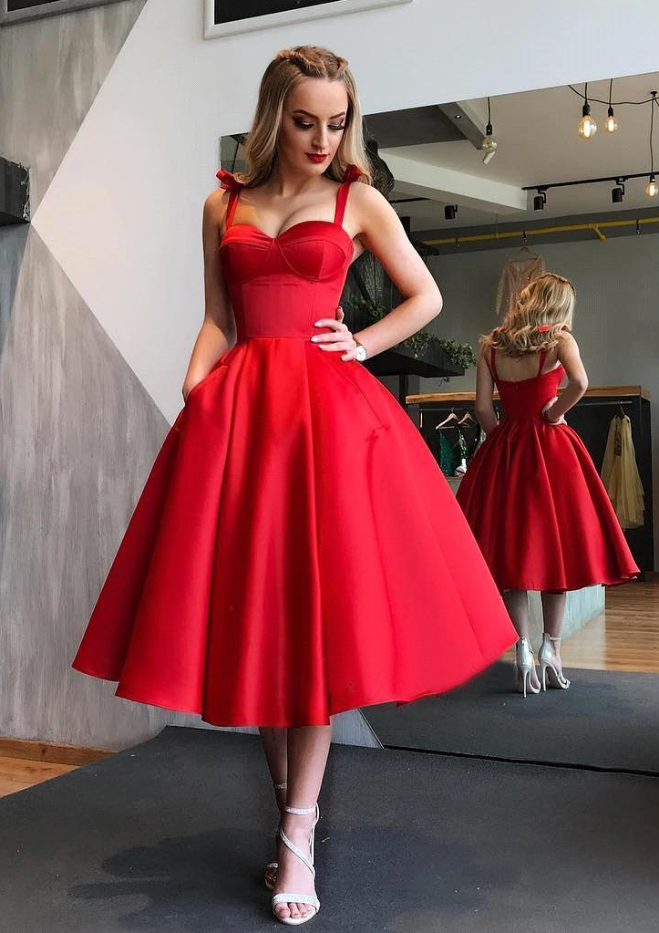63c19385c3a Ball Gown Sweetheart Sleeveless Tea-Length Satin Prom Dress With ...