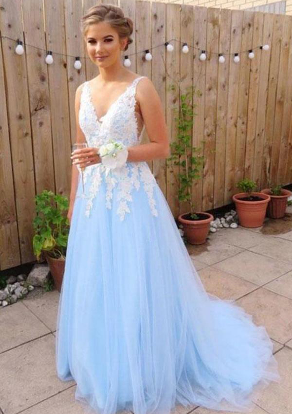 4a130ef61b2d0 A-line/Princess V Neck Sleeveless Court Train Tulle Prom Dress With ...
