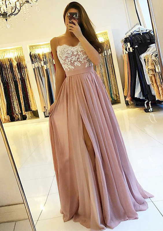 29cb879d1cf A-line Princess Sweetheart Sleeveless Long Floor-Length Chiffon Prom ...