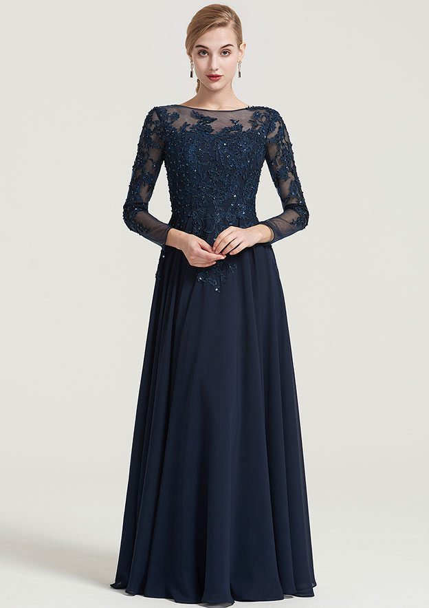 968f8871f011 A-line Princess Bateau 3 4 Sleeve Long Floor-Length Chiffon Dress With  Beading Appliqued