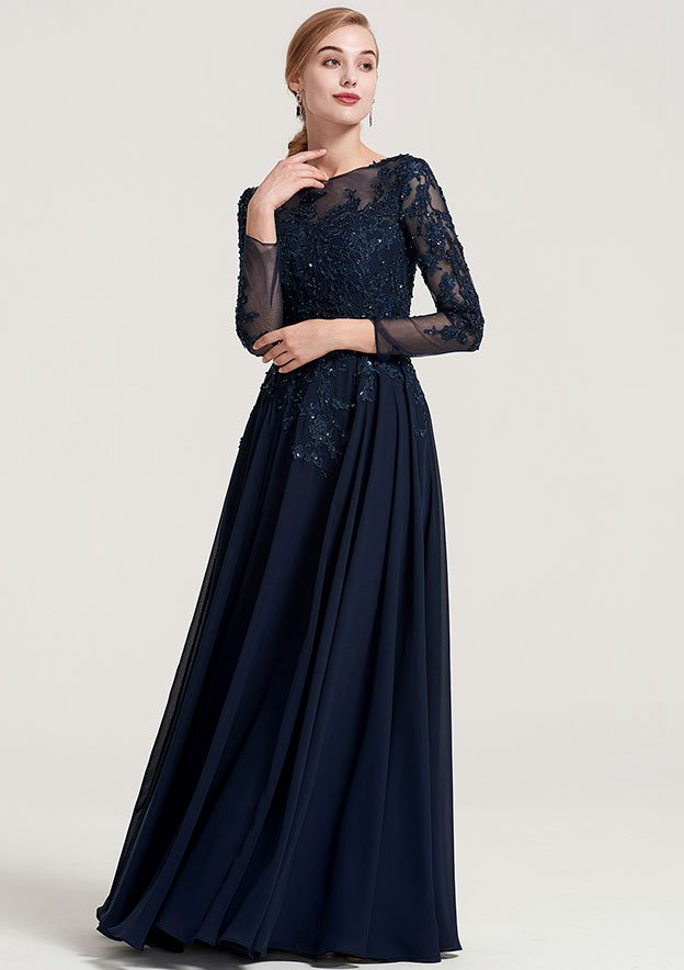 5da0fc748798 A-line Princess Bateau 3 4 Sleeve Long Floor-Length Chiffon Dress ...
