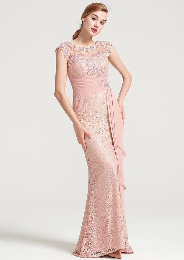 dce8f37996 Sheath Column Bateau Sleeveless Long Floor-Length Lace Dress With Ruffles  Appliqued Pleated