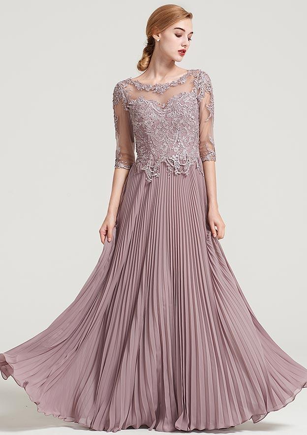 A-line Princess Bateau Half Sleeve Long Floor-Length Chiffon Dress With  Pleated Appliqued b81a01b7f