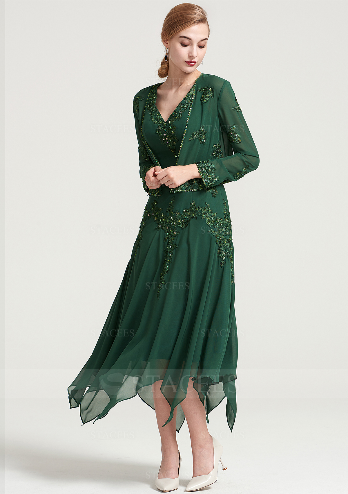 6658d6738be A-line/Princess V Neck Short Sleeve Tea-Length Chiffon Mother of the ...