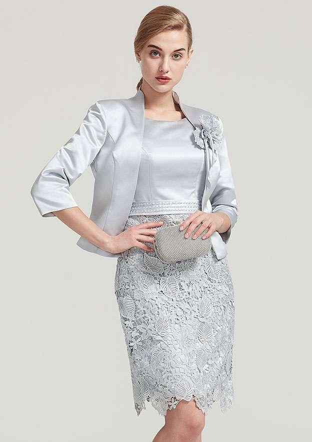af9138e9e5 3 4 Sleeve Waist Length Satin Jacket With Shoulder Flower - Jackets ...