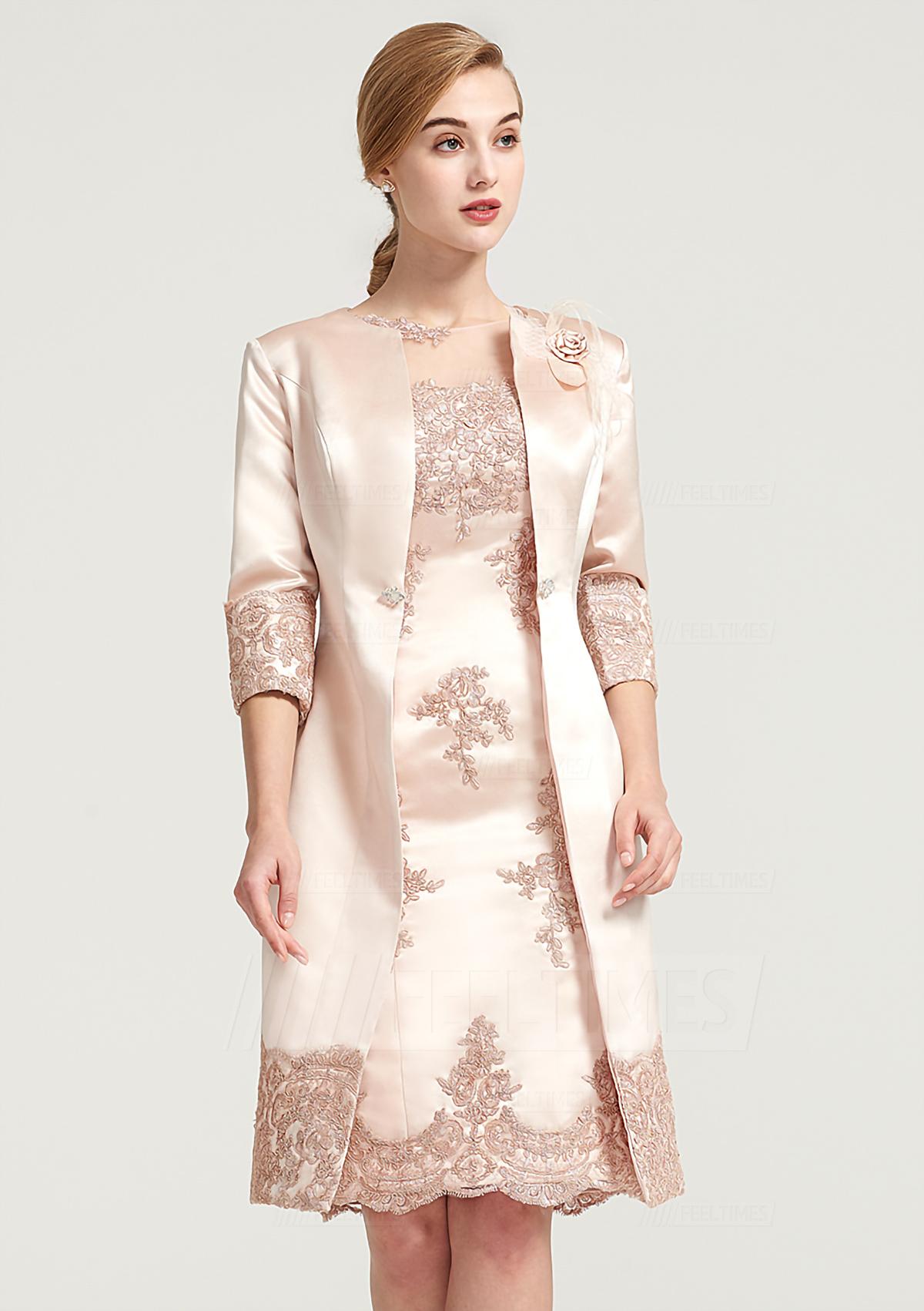 fc2e1e1839b Sheath Column Bateau Sleeveless Knee-Length Satin Mother of the Bride Dress  With Shoulder Flower Appliqued - Mother of the Bride Dresses S18007M - at  ...