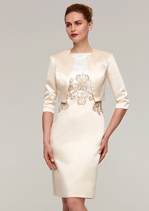 Sheath Column Bateau Sleeveless Knee-Length Satin Mother of the Bride Dress  With Jacket Appliqued Beading 9f8688945