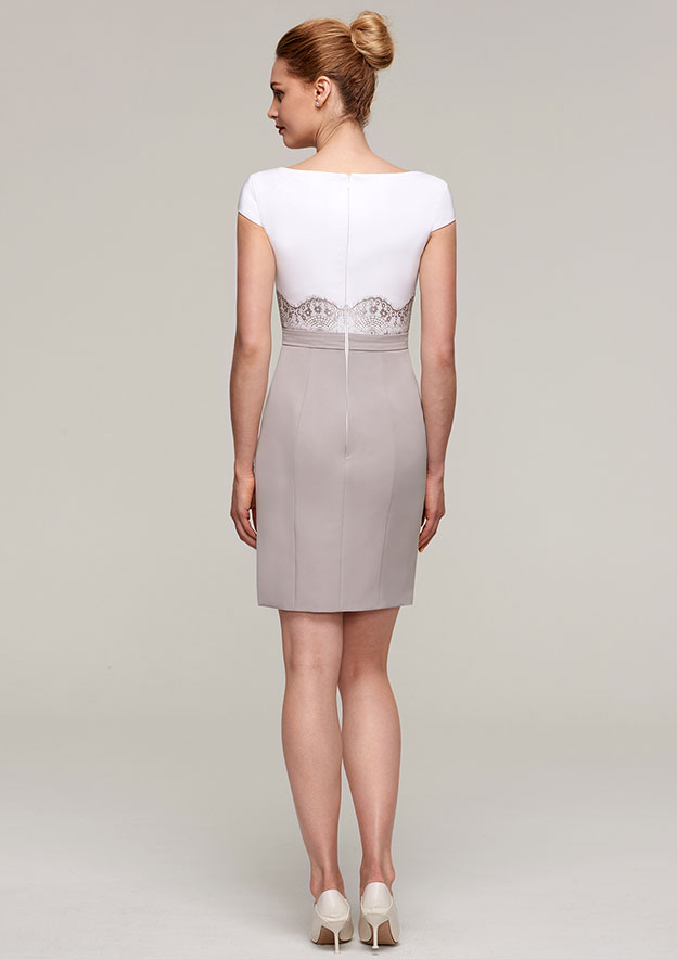 881b1568bec Sheath Column Bateau Sleeveless Short Mini Elastic Satin Mother of the Bride  Dress With Jacket Flowers Lace - Mother Dresses S18073M - at Stacees.co.uk