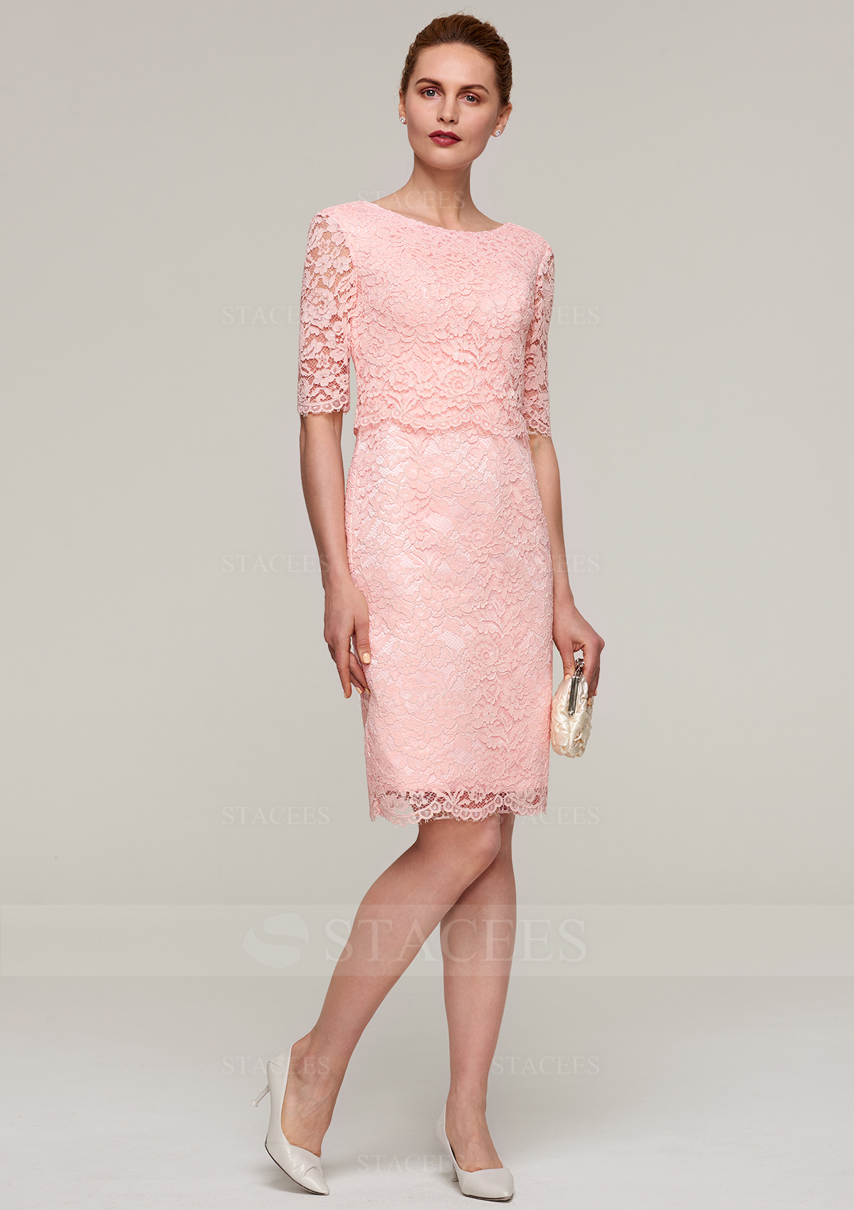 b5e37aed049 Sheath Column Bateau Half Sleeve Knee-Length Lace Mother of the ...